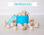 """20MM Wooden Beads - 25 Round Wooden Beads - 20MM Wooden Balls (3/4"""") - Unfinished Wooden Beads - 20mm Wood Balls in Muslin Bag - DIY Crafts"""