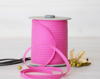 """Fuchsia Cotton Ribbon - 5, 20 or 109 Yards - 100% Cotton from Italy -1/4"""" wide - Pink Color Ribbon - Eco Friendly Ribbons - Bright Pink Trim"""
