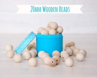 "20MM Wooden Beads - 25 Round Wooden Beads - 20MM Wooden Balls (3/4"") - Unfinished Wooden Beads - 20mm Wood Balls in Muslin Bag - DIY Crafts"