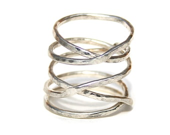 Sterling Silver Hammered Twisted Ring, Thick Silver Stacking Ring
