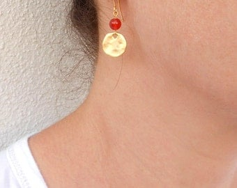 Orange carnelian earrings, Gold coin earrings