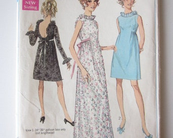 1968 Dress Pattern--Fancy Vintage Dress Pattern--Backless Dress--Simplicity 7949--Size 10