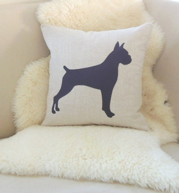 Animal Silhouette Pillow Covers : Items similar to Boxer Pillow Cover on Etsy