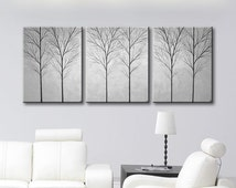 "SALE Wall Art Canvas Painting Large Tree Art Wall Decor Home Decor Wall Hangings Trees Gray Grey Original Paintings 48""x20"""