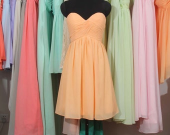 Peach Bridesmaid Dress, A-line Sweetheart Short Chiffon Bridesmaid Dress