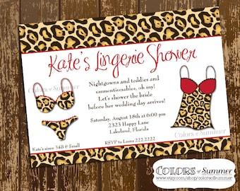 Leopard Lingerie Invitation, Lingerie Shower Invitation, Bridal Shower Invitation, Leopard & Red Lingerie, Leopard Bachelorette Party Invite
