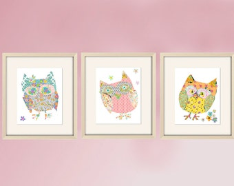 owl nursery decor, girl nursery art, nursery wall art, owl decor, baby girl nursery, owl art, nursery prints, childrens art, baby girl art