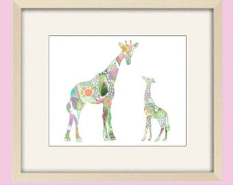 baby girl nursery giraffe art, baby nursery decor, nursery art, kids wall art, baby decor, pastel nursery, giraffe print, baby nursery print