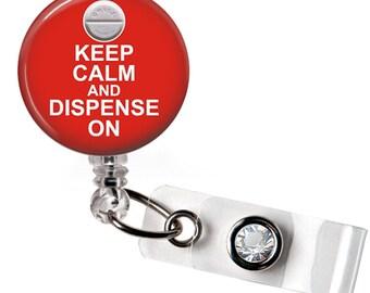 Retractable ID Badge Reel -Keep Calm Pharmacy Tech Badge Reel - 0649