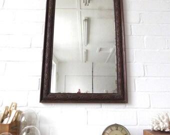 Vintage Large Bevelled Edge Wall Mirror Art Deco Carved Wooden Oak Frame