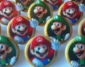 24 Super Mario Bros. cupcake rings picks or cake toppers, perfect for birthday party treat bag favors, Mario Luigi Nintendo Wii gaming