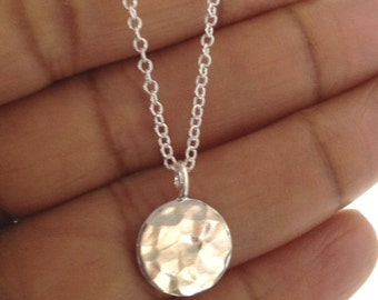 Silver Disc Necklace Hammered UK Shop  Mothers Day Gift Birthday Gift