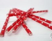 Red paper straws with white stars, 25 pieces, weddings, birthdays, baby showers, partys, cocktails