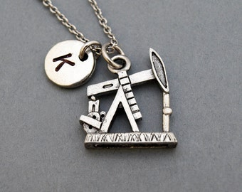 Drilling Rig necklace, Oil rig necklace, initial necklace, initial hand stamped, personalized, antique silver, monogram
