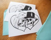 Printable Skeleton Wedding Invitation Save the Date Instant Download Hen Party Day of the Dead Tattoo Wedding Card PDF Blank Inside