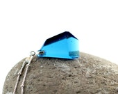 Geometric Jewelry Turquoise Blue Aqua Glass Gemstone - Fused Glass Jewel Pendant in Bold Spring Colors