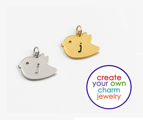 ADD A CHARM - Silver Bird Charm, Gold Bird Charm, Charm for Bracelet, Charm for Necklace,Personalized Initial,Hand Stamped Jewelry,Baby Bird