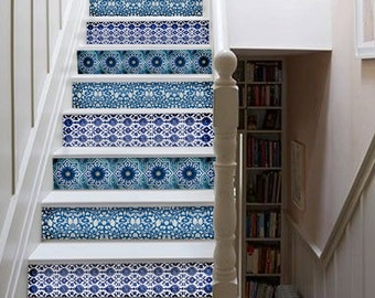 India Blue Pottery Inspired Stairs Decal : Pack of 10 strips with 124cm length