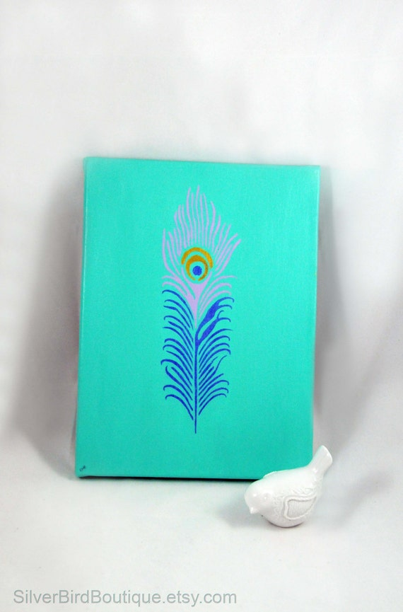 Items similar to peacock feather painting canvas simple for Painting feathers on canvas