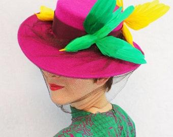 Custom Order: Spectacular Vintage 1940s-Style Wide Brim Felt Tilt Hat with 3 Faux Birds & Veiling