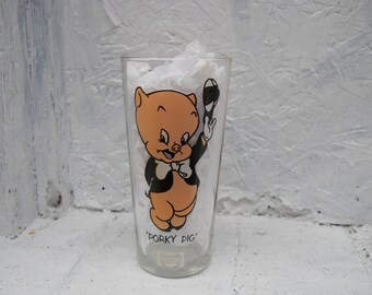 PEPSI Porky Pig LUN Glass. 1973.  Warner Bros. 15 oz. Glass. Rare