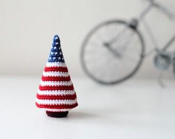 Christmas tree ornament, decor, crochet Christmas tree, Unusual Christmas gifts, red, white, blue, stripes and stars, USA patriotic flag