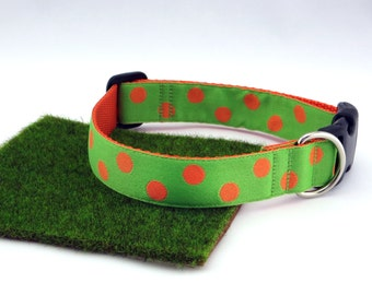 "Orange Polka Dots With Lime Green Spring Summer Dog Collar, 1"" Wide"