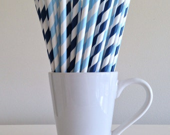 Blue Paper Straws Navy Blue and Light Blue Striped Party Supplies Party Decor Bar Cart Cake Pop Sticks Graduation Party Graduation