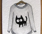 Sweater #4 - original watercolor Aceo