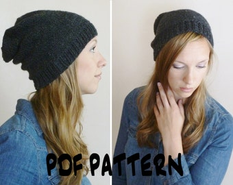 Knitting Pattern For Dolls : Knitting PATTERN, Knit Garter Slouch Beanie Pattern,Womens Slouchy Hat P...