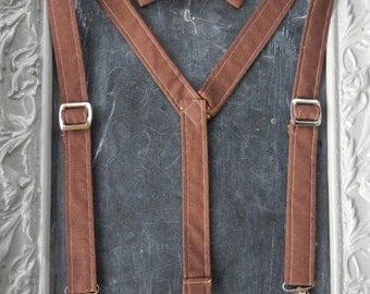 Boys Suspenders Bow Tie set Brown