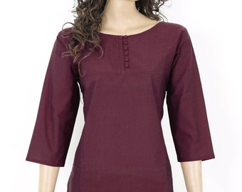 Indian Ethnic Maroon Cotton Short Kurti Kurta Top Tunic Blouse for Women - Ladies Dress - Button Front - All Sizes - 903151