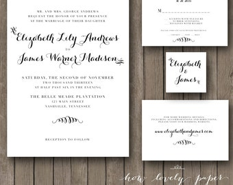 Printable Wedding Invitation Suite - the Isabel Collection