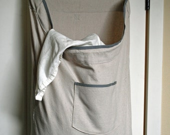 Dorm Room Hanging Hamper Laundry Bag -- Drawstring Bag with Shoulder Strap -- Small Space Storage