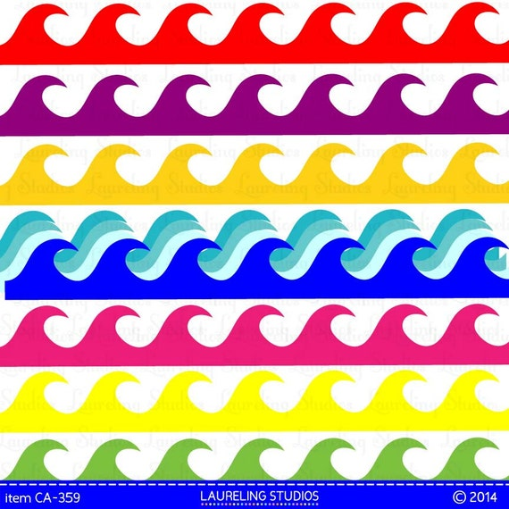 Items Similar To Wave Clipart Borders Ocean Clipart Digital