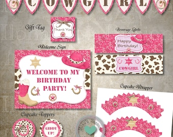 Cowgirl Party Package - Cowgirl Birthday - Instant Download - DIY Printable