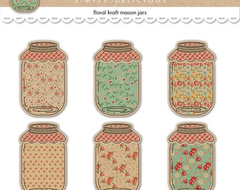 Shabby chic mason jar tags / printable jars floral / digital collage sheet / instant download / scrapbook embellishments, food labels