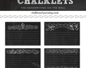 Digital chalkboard  journaling cards / collage sheet / digital scrapbooking / downloadable / printable blackboard cards / chalkboard tags
