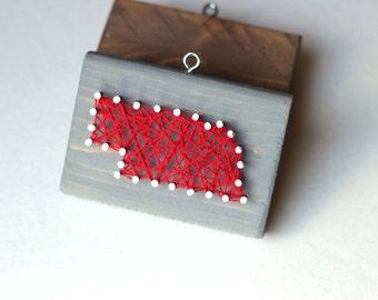 Nebraska String and Nail Art Rustic Wood Ornament