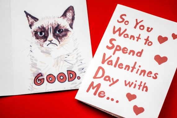 items similar to grumpy cat wants to be your valentine hand drawn funny cat card funny valentines card on etsy