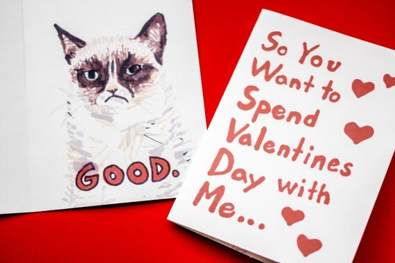 items similar to grumpy cat wants to be your valentine hand drawn funny cat card funny valentines card on etsy - Grumpy Cat Valentine