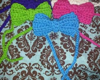 Newborn Crochet Bow Tie, Bow Headbands, 5 pack, Bow Tie Photography Prop, Handmade Photography Props