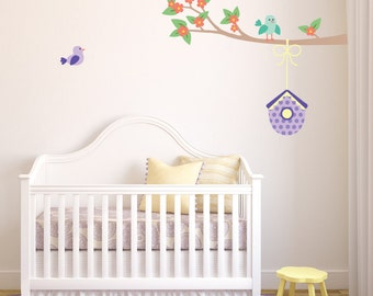 Branch and Birdhouse Fabric Wall Decals - Branch Wall Stickers