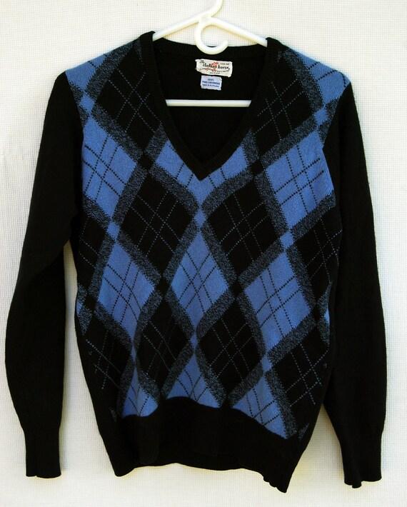 Vintage Cashmere Argyle Print Blue Sweater Scotland Long Sleeve Clothes Horse S