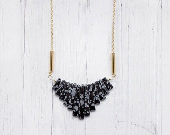 Snowflake Obsidian Statement Bib Necklace with Brass Tubes