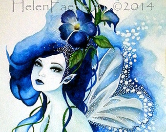 Fine Art Print 'Morning Glory Faerie' From My original Watercolour Painting, Faery, Floral, Blue, Flower Fairy