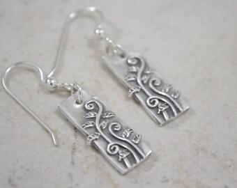 Fiddlehead Ferns Silver Earrings