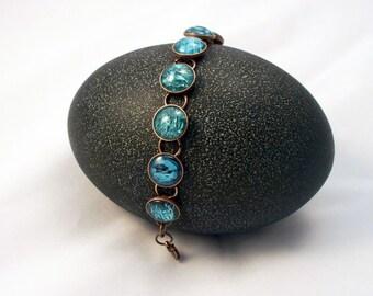 Blue Water Glass Adjustable Copper Finish Bracelet