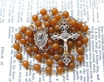 Sacred Heart Rosary - Scapular, Sorrowful Mother, Orange Aventurine Gemstone Beads