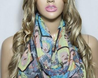 Infinity Scarf, Silky Chiffon So Soft Lightweight, Marylin Monroe Print Scarf, Loop Scarf, Neon Scarf For Her-ESCHERPE